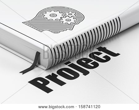 Finance concept: closed book with Black Head With Gears icon and text Project on floor, white background, 3D rendering