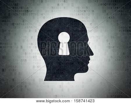 Business concept: Painted black Head With Keyhole icon on Digital Data Paper background
