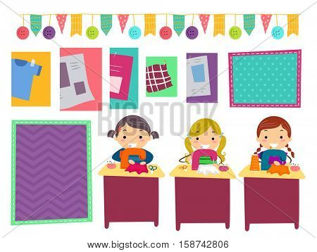 Stickman Illustration of Kids Making Party Supplies from Colorful Swatches of Fabric