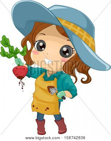 Illustration of a Cute Little Girl in a Wide Gardening Hat Holding an Uprooted Beet