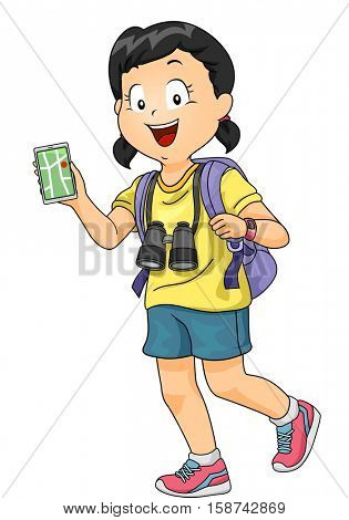 Illustration of a Little Girl with a Pair of Binoculars Hanging from Her Neck Consulting a Navigation App