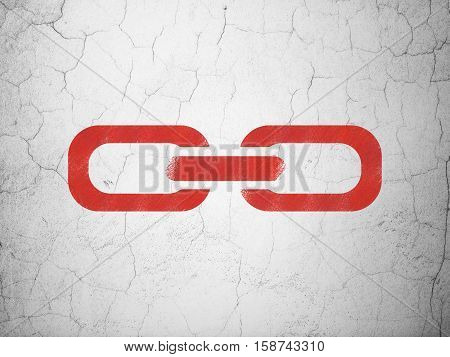 Web design concept: Red Link on textured concrete wall background