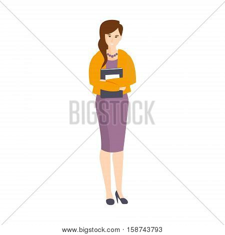 Girl In Purple Dress And Orange Cardigan Holding Papers Part Of The Collection Of Young Professional People Office Style And Street Fashion Looks. Smiling Confident Person In Trendy Modern Clothing Flat Vector Illustration.