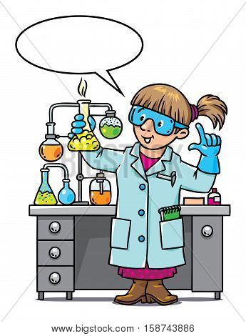 Childrens vector illustration of funny chemist or scientist. A woman in glasses dressed in a lab coat and gloves with smocking retort. Profession series. With balloon for text