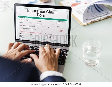 Insurance Claim Form Document Application Concept