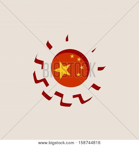 3D cog wheel with China flag. Precision machinery relative backdrop