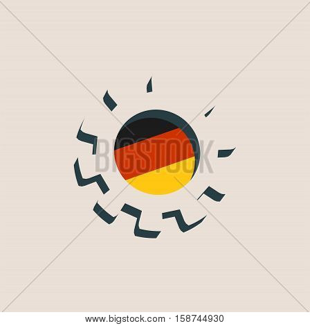 3D cog wheel with Germany flag. Precision machinery relative backdrop