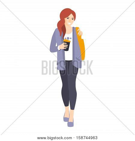 Girl In Leggings And Jacket With Coffee Paper Cup Part Of The Collection Of Young Professional People Office Style And Street Fashion Looks. Smiling Confident Person In Trendy Modern Clothing Flat Vector Illustration.