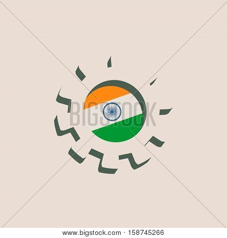 3D cog wheel with India flag. Precision machinery relative backdrop