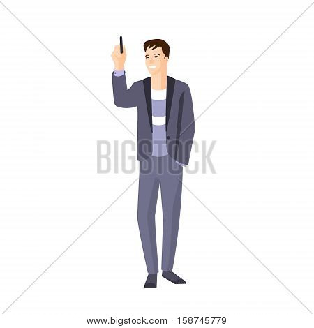 Man In Jacket On Sweater Writing On Whiteboard Part Of The Collection Of Young Professional People Office Style And Street Fashion Looks. Smiling Confident Person In Trendy Modern Clothing Flat Vector Illustration.