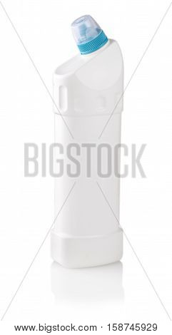 Universal cleanser. Photography of white plastic bottle with liquid laundry detergent cleaning agent bleach or fabric softener - isolated on white background