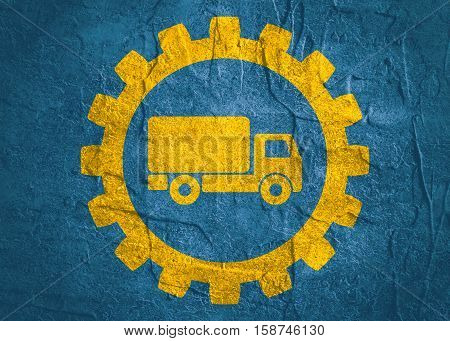 Truck icon in gear. Delivery van, service concept. Minimalistic sign on concrete textured background. Trendy Flat style for graphic design
