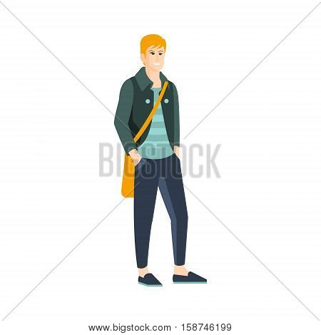 Guy In Shortened Pants And Slip-On Shoes Part Of The Collection Of Young Professional People Office Style And Street Fashion Looks. Smiling Confident Person In Trendy Modern Clothing Flat Vector Illustration.
