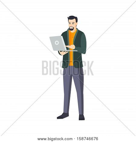 Man With Goatee Beard And Lap Top In Green Cardigan Part Of The Collection Of Young Professional People Office Style And Street Fashion Looks. Smiling Confident Person In Trendy Modern Clothing Flat Vector Illustration.