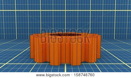 Industry theme relative abstract background concept. Blue print backdrop. Wire frame gear. 3D rendering