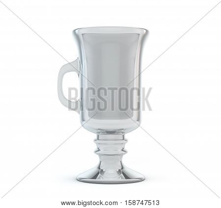 Empty latte glass isolated on white 3d render