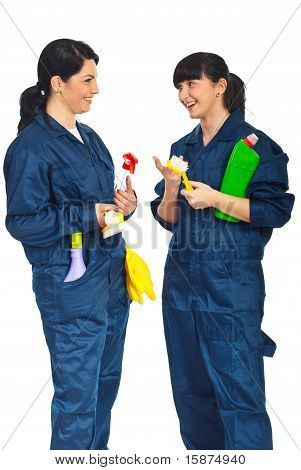 Cleaning Workers Women Having Conversation