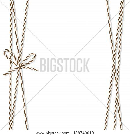 Abstract white background tied up with brown rope bakers twine bow and ribbons