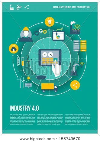Industry 4.0 automation internet of things concepts and tablet with human machine interface poster layout