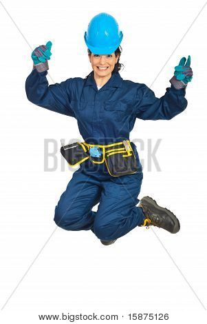 Happy Constructor Worker Woman Jumping