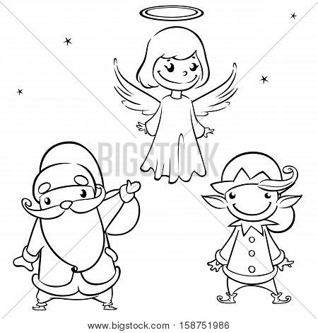 Outlined Laughing Santa Claus angel and elf. Christmas characters