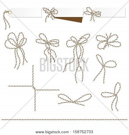 Set of tags and labels tied up with brown bakers twine bows and ribbons