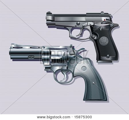 Machine pistol and revolver.