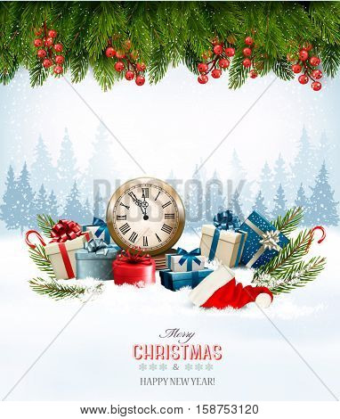 Holiday background with presents. Vector.