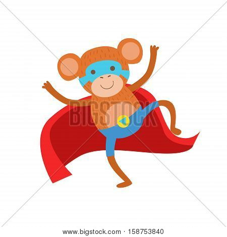 Monkey Animal Dressed As Superhero With A Cape Comic Masked Vigilante Character. Part Of Fauna With Super Powers Flat Cartoon Vector Collection Of Illustrations.