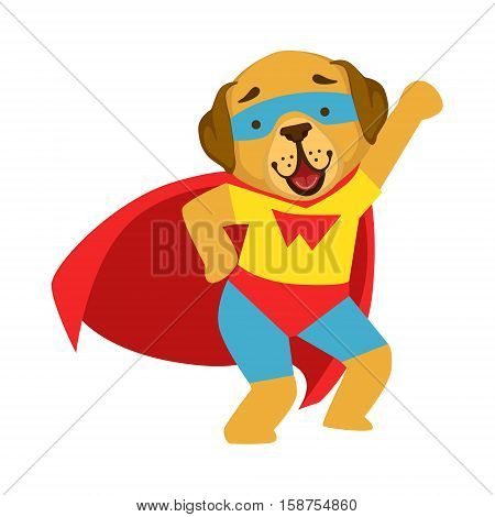 Dog Animal Dressed As Superhero With A Cape Comic Masked Vigilante Character. Part Of Fauna With Super Powers Flat Cartoon Vector Collection Of Illustrations.