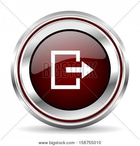 exit icon chrome border round web button silver metallic pushbutton