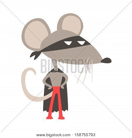 Rat Animal Dressed As Superhero With A Cape Comic Masked Vigilante Geometric Character. Part Of Fauna With Super Powers Flat Cartoon Vector Collection Of Illustrations.
