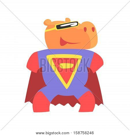 Hippo Smiling Animal Dressed As Superhero With A Cape Comic Masked Vigilante Geometric Character. Part Of Fauna With Super Powers Flat Cartoon Vector Collection Of Illustrations.