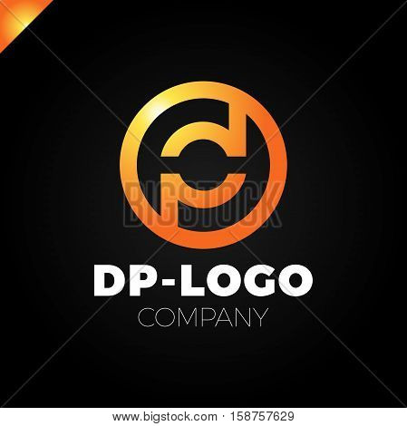 Letter D And Letter P Logo. Pd, Dp Initial Overlapping In Circle Letter Logotype