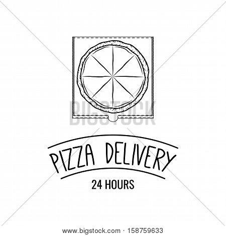 Pizza Box. Food Delivery. Traditional Italian Cuisine. Vector Illustration
