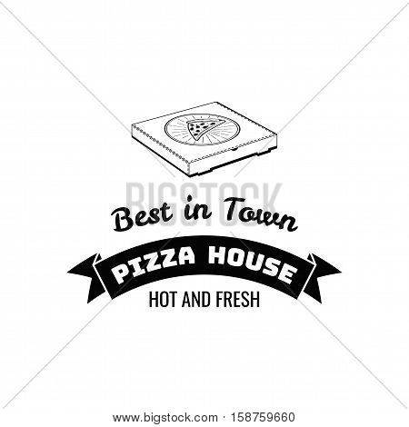 Pizza Box. Best in Town. Food Delivery. Traditional Italian Cuisine. Vector Illustration