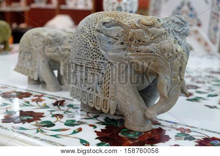 AGRA, INDIA - FEBRUARY 14 : Handcrafted Indian elephant display at souvenir shop in Agra, Uttar Pradesh, India on February 14, 2016.