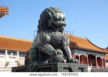 BEIJING, CHINA - FEBRUARY 23, 2016: Lion Statue, Forbidden city in Beijing, China on February 23, 2016.