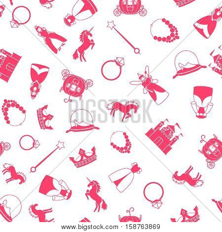 Princess and fairy tale elements on white background vector pattern