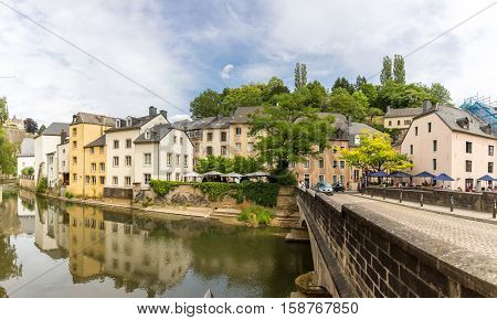 Luxembourg City, downtown city part Grund, scenic view with the Alzette river in Luxembourg Panorama