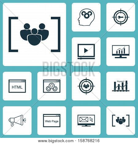 Set Of Advertising Icons On Newsletter, Questionnaire And Media Campaign Topics. Editable Vector Illustration. Includes Brain, Website, Digital And More Vector Icons.