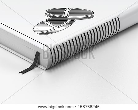 Healthcare concept: closed book with Black Pills icon on floor, white background, 3D rendering