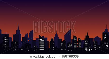 Night city. Cityscape silhouette with windows. Minimalist graphical urban landscape. Skyscraper skyline, dark sky. Vector illustration. Scape, panorama. Light town in flat design. Downtown
