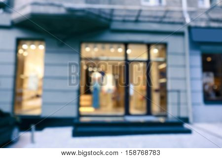 View of fashion store blurred
