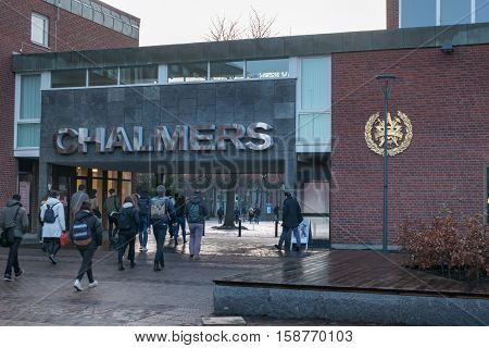 Entrance to Chalmers university of technology in Gothenburg, Sweden, 2016-11-23 Early in the morning with arriving students