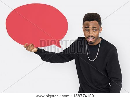 African American Attractive Casual Speech Buble Concept