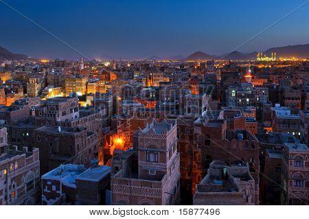 Panorama Of Sanaa At Night