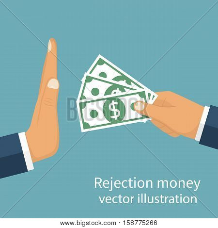 Rejection money concept. Businessman holding money in hand offering bribe. Hand gesture rejecting the proposal. Violation of the law corruption. Refuse cash. Vector illustration flat design.