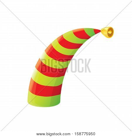 red and green stripped cartoon christmas vector elf hat isolated on white. vector illustration