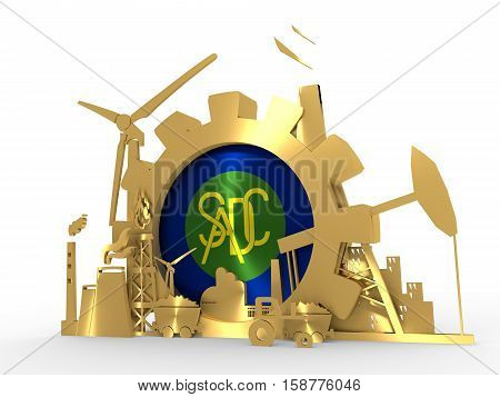 Southern African Development Community - economic organization flag in gear. 3D rendering. Energy and Power icons set. Sustainable energy generation and heavy industry